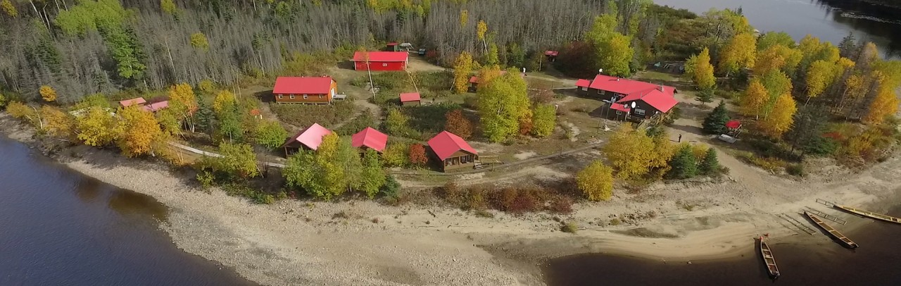 Aerial fall picture of the camp buildings